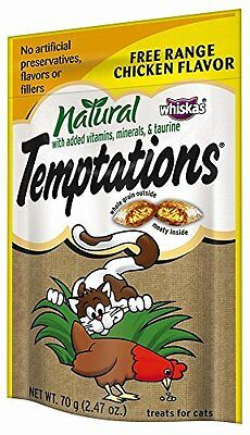 All Natural Temptations Free Range Chicken Flavor Treats for Cats, 2.47-Oun