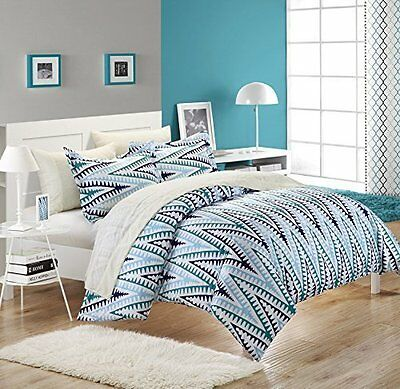 Chic Home Selina 3-Piece Duvet Cover Set, King, White/Blue
