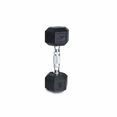 Cap Barbell Rubber Coated Hex Dumbbell with Contoured Chrome Handle (15-Pou