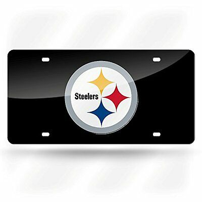 Pittsburgh Steelers Deluxe Black Mirrored Laser Cut License Plate