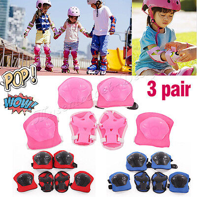 3pairs Kids Child Knee Elbow Wrist Protective Gear Pads Roller Skating Sports UK