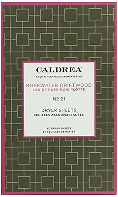 Caldrea Dryer Sheets, Rosewater Driftwood, 80 Count