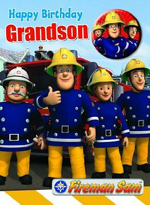 Official Fireman Sam Birthday Card With Pin Button Badge - Grandson
