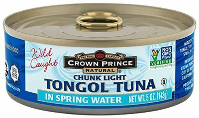 Crown Prince Natural Chunk Light Tongol Tuna in Spring Water, 5 Ounce Cans