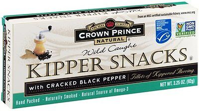 Crown Prince Natural Kipper Snacks with Cracked Black Pepper, 3.25 Ounce Ca