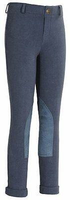 TuffRider Girl's Starter Lowrise Pull-On Jods Breech, Denim, 10