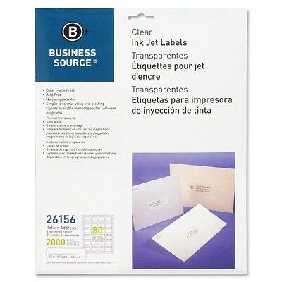 "Business Source - Inkjet Labels,Return,Permanent,1/2""x1-3/4"",2000/PK,CL, So"