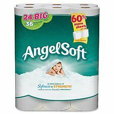 Angel Soft PS - Bathroom Tissue, 2-Ply, 198 Shts, 24RL/PK, White, Sold as 1