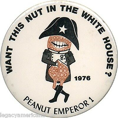 1976 Jimmy Carter PEANUT EMPEROR Satirical Button (4803)