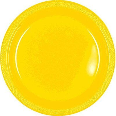 10-In Plastic Plates Yellow Sunshine 20 Count