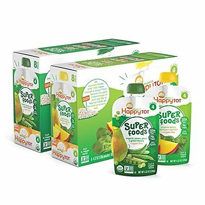 Happy Tot Organic Toddler Food Variety Pack, Spinach Mango Pear & Green Bea
