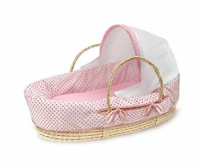 Badger Basket Company Natural Moses Basket with Fabric Canopy, Pink Polka D