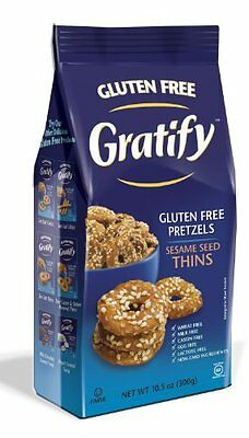 Gratify Gluten Free Pretzel Thins, Sesame, 10.5 Ounce (Pack of 6)