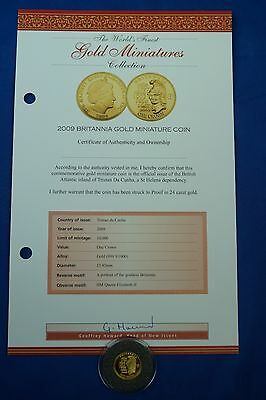 *e 2009 Miniature 24Ct Solid Gold Britannia One Crown Coin Set With Certificate