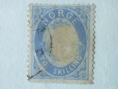 NORWAY -  SG  36  - 1872  2s BLUE - USED