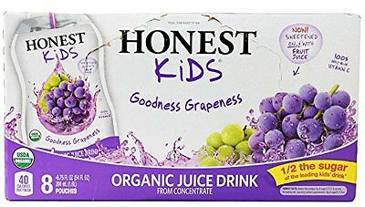 Honest Kids - Organic Juice Drink Goodness Grapeness - 8 x 6.75 Pouches