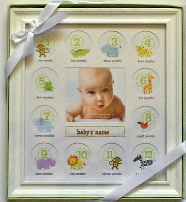 Stepping Stone Baby's First Year Picture Frame (White Frame with Room to Ad