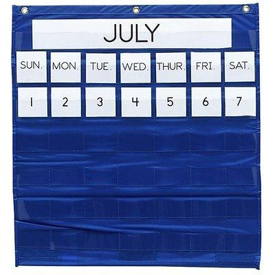 "Pacon - Monthly Calendar Pocket Chart, 25""x28"", Blue, Sold as 1 Each, PAC 2"