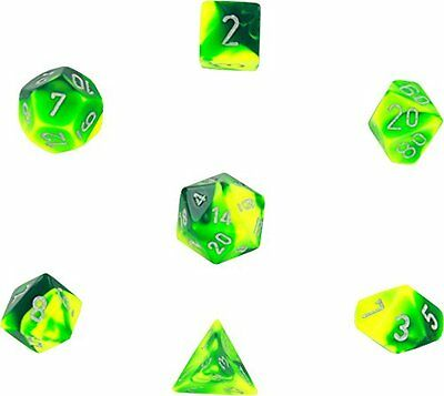 Polyhedral 7-Die Gemini Dice Set: Green & Yellow with Silver (d4, d6, d8, d