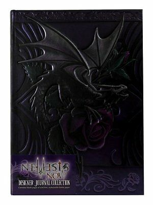 Licensed Anne Stokes Dragon Beauty with Purple Rose Embossed Journal Hard C