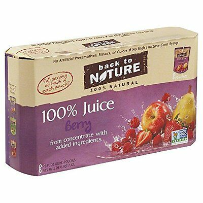 Back To Nature 100% Juice Squeeze Drink Packs Berry -- 8 Pouches