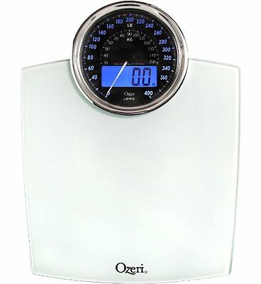 Ozeri ZB19-W Rev Digital Bathroom Scale with Electro-Mechanical Weight Dial