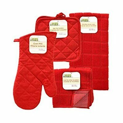 The Home Store Red Windowpane Pattern Kitchen Linens Collection
