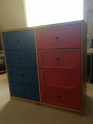 kids 8 drawer cabinet with wooden frame and blue and red plastic drawers
