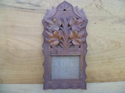 Antique Old Timber Hand Carved Picture, Photo Frame, Old Carving (C871)