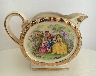 Sadler Creamer Barrel Body Crinoline Courting Scene c1950 1876