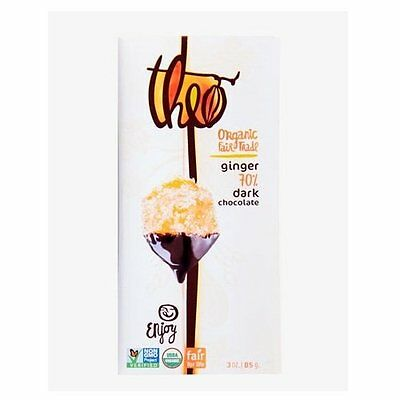 Theo Organic Ginger 70 Percent Dark Chocolate Bar, 3 Ounce -- 12 per case.
