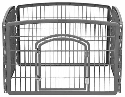 IRIS Plastic Exercise/Containment Pet Pen for Dogs, 35 by 24-Inch, Dark Gra