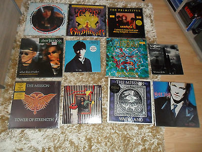 "The Damned 10"" the mission, the primitives,the cult job lot rare limited edition"