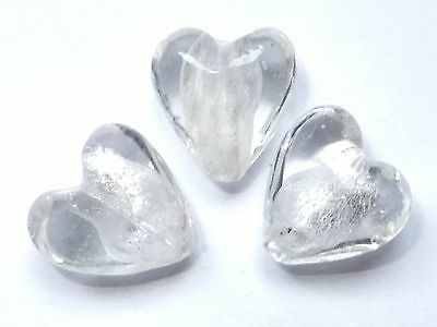 Silver Foil Glass Beads - Hearts - Crystal - 12mm/2mm hole - 10 beads