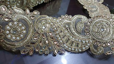 6cm- 1 meter Beautiful gold beaded and pearls floral lace trimming for crafts