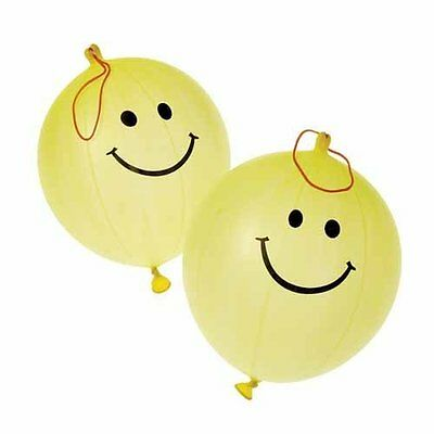 Dozen Yellow Smiley Face Smile Theme Punch Ball Balloons With Rubber Band H