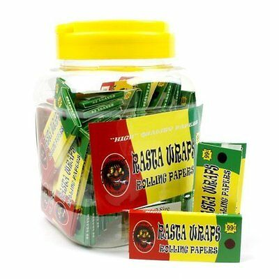 Jar of 1 1/2 Rasta Wraps Slow Burning Tobacco Rolling Papers (Quantity of 5