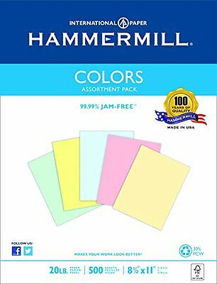 Hammermill Colors Assorted, Blue, Pink, Canary, Green, Ivory ,  20lb., 8.5x