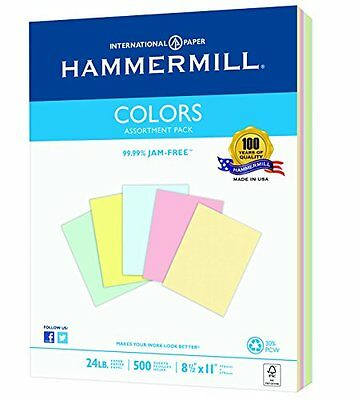 Hammermill Colors  Assorted, Blue, Canary, Pink, Green, Ivory, 24lb., 8.5x1