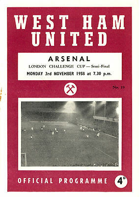 West Ham United Res. v. Arsenal Res. 3/11/1958 London Challenge Cup (R070)