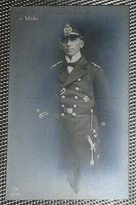 WWI Germany navy officer pirate ace Hellmuth von Mücke iron cross photo postcard