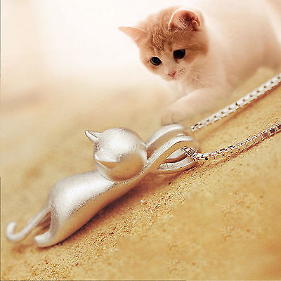 Charming 925 Sterling Silver Women Elegant Jewelry Cat Pendant Chain Necklace