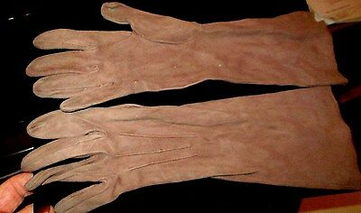 DENTS Vintage Dark Beige  Long Length Soft Suede Moleskkin Leather Gloves size 7
