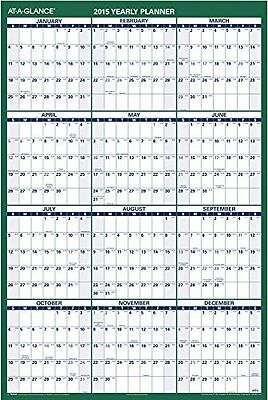 AT-A-GLANCE XL Erasable Reversible Yearly Vertical Wall Calendar 2015, 48 x