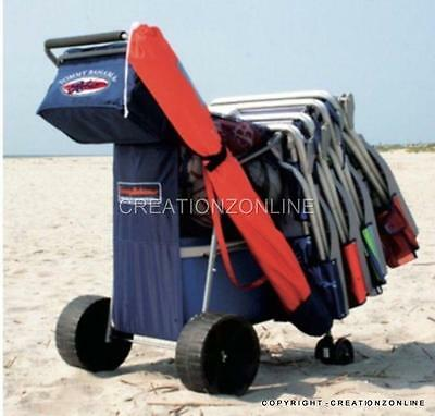 Tommy Bahama All Terrain Beach Cart Trolley Wagon Holds 4 Chairs & Umbrella Gear