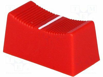 1 pc Knob: slider; Colour: red; 23x11x11mm; Mat: plastic; Pointer: white