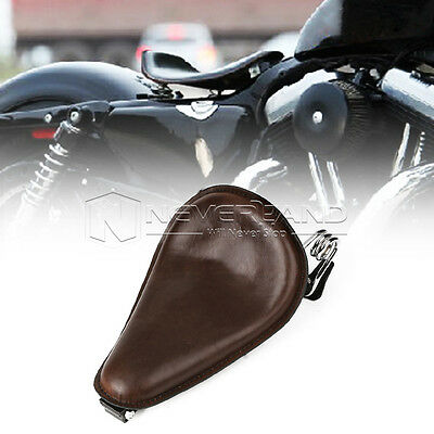 """14.2"""" Leather Solo Seat Spring Bracket For Harley Dyna Fat Bob 48 72 Honda Brown"""