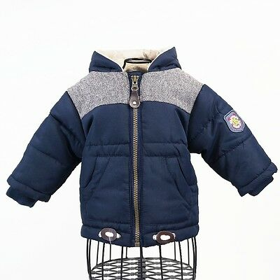 Babaluno Baby Boys Blue Faux Fur Hooded Winter Padded Jacket Zip Coat 0-3 mths