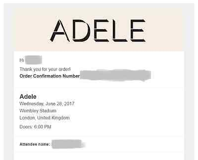 2x Adele Final tour TICKETS - 28th June 2017 WEMBLEY London *sold out*