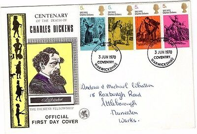 1970 Charles Dickens Centenary Wessex Fdc From Collection A8